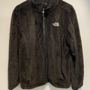 Women's black north face fuzzy jacket